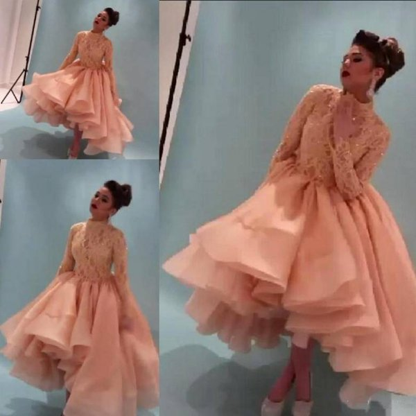Stunning Myriam Fares Evening Dresses Long Sleeve High Neck Lace Top Puffy Skirt Prom Dress Party Wear 2018