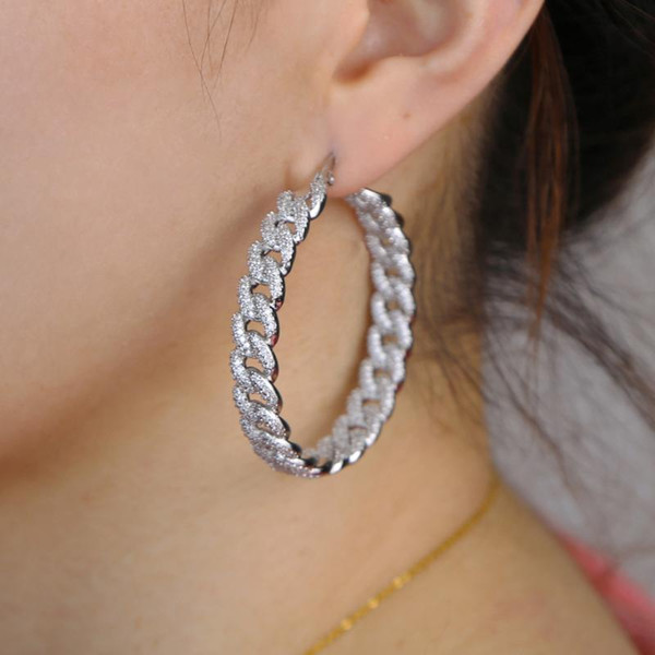 best selling iced out 48mm big Huggie hoop earring with clear cz paved cuban chain earring gorgeous bling cz 2020 summer women jewelry