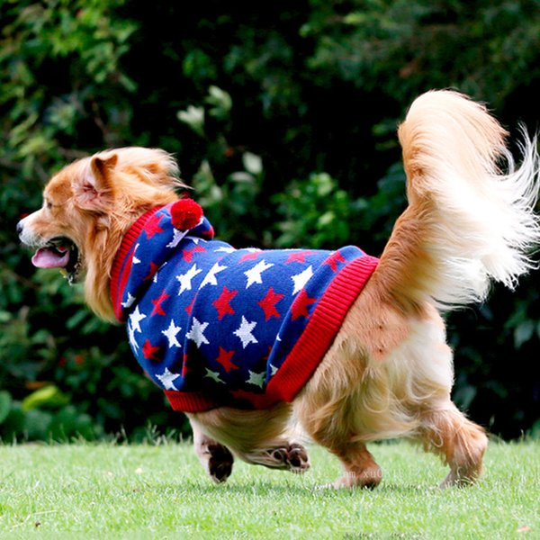 Free Shipping Hot Christmas Elk Pet Dog Hooded Sweater Snowflakes Winter Warm Dog Clothes Chihuahua Knitwear For Puppy