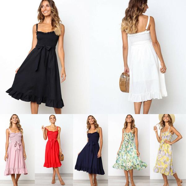 Abito da donna sexy nuovo stile Holiday Beach Button Ladies Summer Knee Lunghezza floreale Solido colore puro Abito da sole Bow Fashion 2019