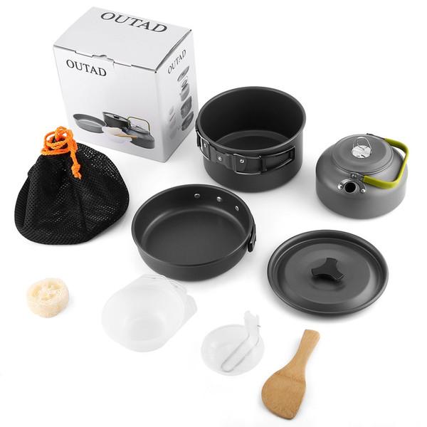 Outdppr Camping Mini Panela Kettle Pot Set para OUTAD 2-3 Individuals Light Weight Portátil De Alumínio Não-stick Panelas Set