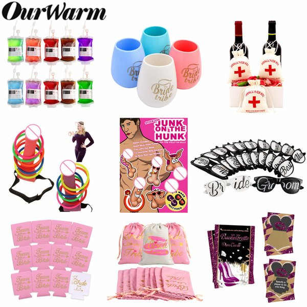 OurWarm Bride To Be Bachelorette Party Decoration Hen Penis Night Game Bottle Cup Cover Bridal Shower Favor Hangover Bride Bags