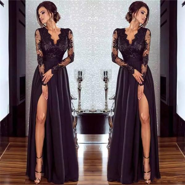 Elegant Long Evening Dresses A-Line Deep V Neck Black Lace Chiffon Formal Prom Gowns With Side Split Long Sleeve Saudi Arabia Dress China