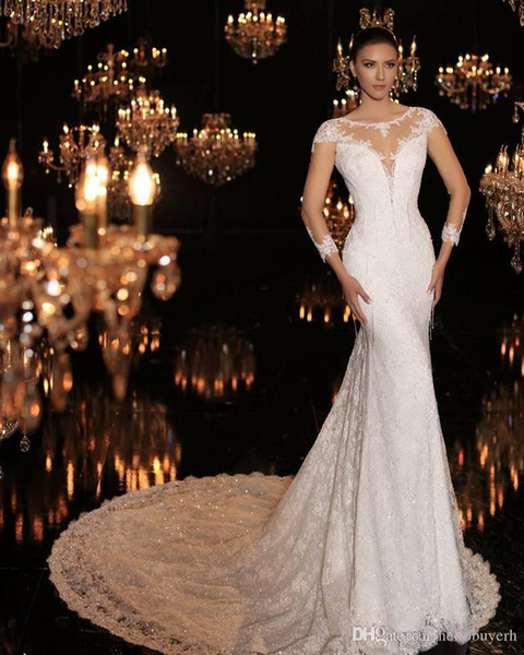 Mermaid Lace Sheer Long Sleeve Luxury Beach Corset Wedding Dresses Bling Long Train 2019 New robe de mariée Bridal gown With Full Beads