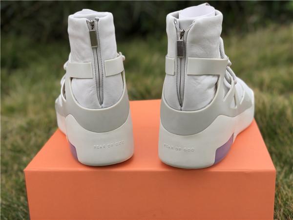 2019 New Release Air Fear of God 1 Uomo Scarpe FOG Stivali Light Bone Sail Scarpe da basket Uomo Sport Zoom Sneakers Fly AR4237-002