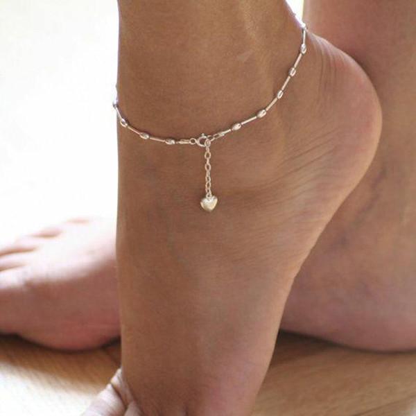 Kadın Küçük Kalp Halhallar Barefoot Crochet Sandalet Ayak Takı Kadınlar Bacak Zinciri Ayak bileği Bilezikler On Bacak Yeni Halhallar