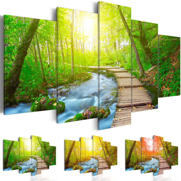 Forest Flowing Water Canvas Painting Tree Scenery Landscape Painting Nature Pictures Cuadros Wall Art Home Decor For Living Room Unframed