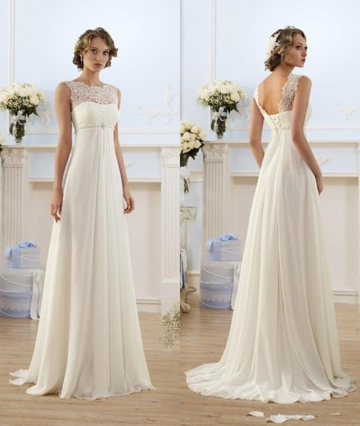 2019 Chiffon A Line Empire High Waist Wedding Dresses Lace Sheer Neckline Lace-up Backless Summer Beach Maternity Bridal Gowns