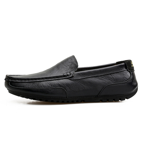 Italian Men Casual Shoes Luxury Genuine Leather Mens Loafers Moccasins Soft Breathable Slip on Boat Shoes Plus Size 38-45
