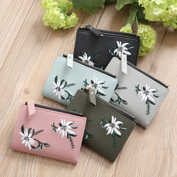 5 colors Embroidery Short Bolt Pocket Purse Coin Wallet PU Women's Wallets Floral Handbag Zipper Bag Card Holders
