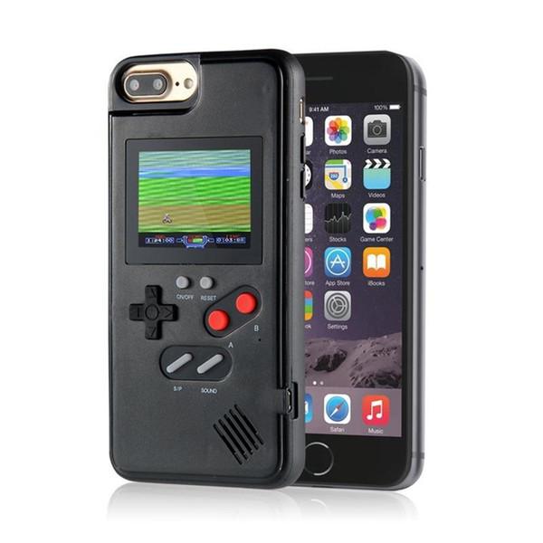 NewMini Handheld Consolas de sílica gel caso de telefone luva protetora Retro Jogo jogador máquina de LCD a cores Para iphone6 7 8 8plus X XS Max XR