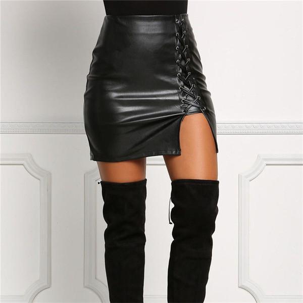 Mujeres atractivas PU vendaje de cuero Lápiz Bodycon Casual delgado sólido de cintura alta Mini falda negro tamaño regular verano otoño ropa