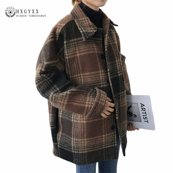 Women Autumn Cape Coat Winter Jacket Short Plaid Wool Coat 2019 Vintage Mujer Female Overcoat Casaco Feminino Outwear Sokd254