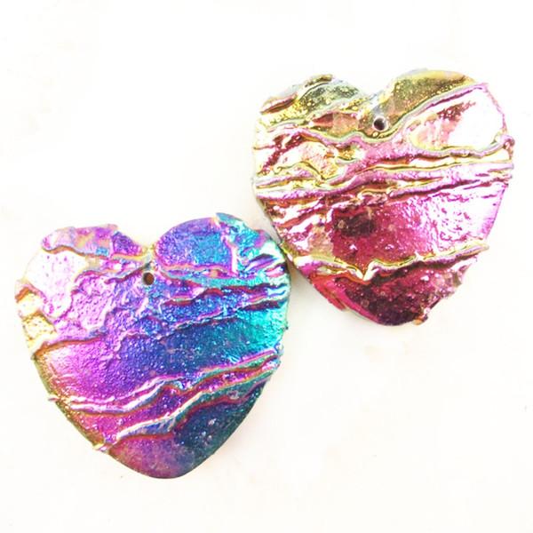 Top Quality colorful Titanium Crystal Agates Druzy Quartz Geode Stone heart Pendant Bead 40x8mm