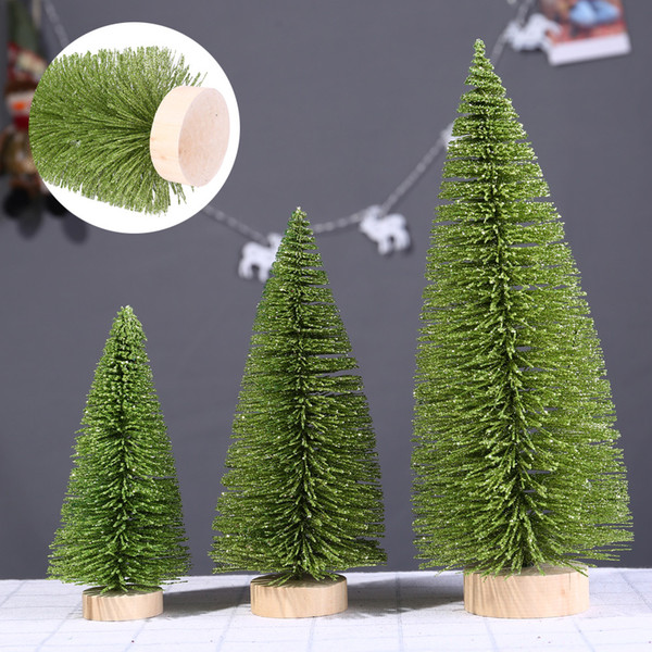 3D Mini Christmas Tree Light Green Pine Tree With Wood Base 1pc DIY Craft Table Xmas Home Decoration Hanging Ornaments Gift Toys