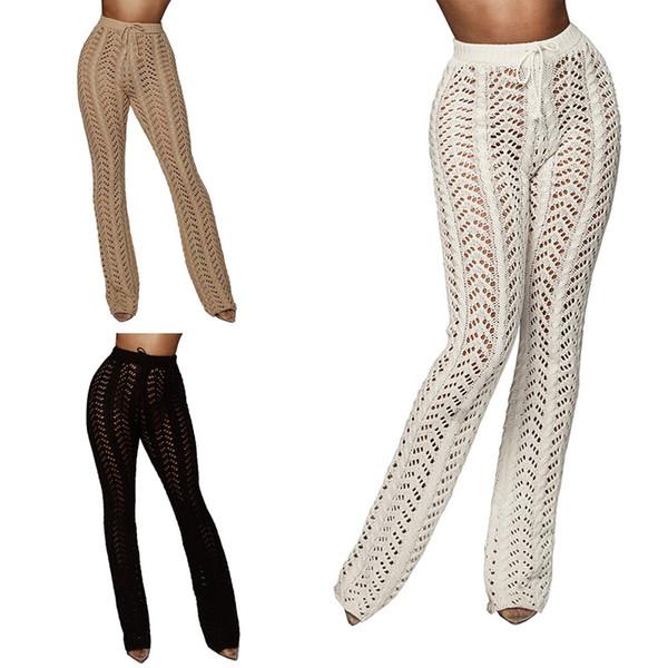 ASKATE Sexy вязание крючком бикини прикрыть летние брюки женские полые пляжные штаны брюки купальник купальный костюм прикрыть пляжная одежда