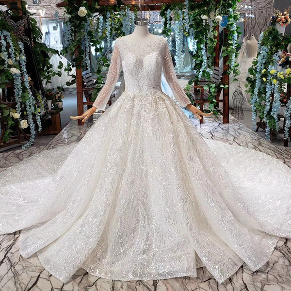 2019 Latest Bohemian Wedding Dresses Long Tulle Sleeve Illusion Neckline O Neck Open Keyhole Back Sequins Crystal Applique Bridal Gown Beach