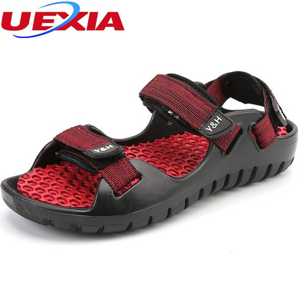 Summer Hook Loop Massage Sandals Luxury Beach Rubber bottom Clogs Hole Breathable Outdoor Flats Water Men Shoes Cool Comfortable