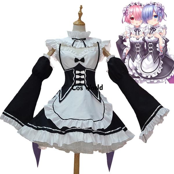 anime Cosplay Re Sıfır Kara Hajimeru Isekai Seikatsu Ramu RAM Remu REM Hizmetçi Önlük Giydirme Kıyafet Üniforma Anime Cosplay Kostümler