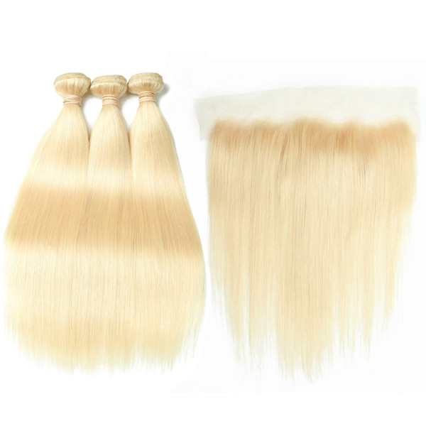 Straight Malaysian Human Hair Bleach Blonde 3Bundles with Full Lace Closure 13x4 Pure 613 Blonde Virgin Hair Weaves with Lace Frontal