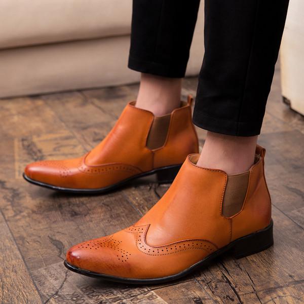 High Top Mens Pointed Toe Dress Shoes Spring Autumn Suit Shoes Slip-On Man Office Black Brown Elevator Footwear Men