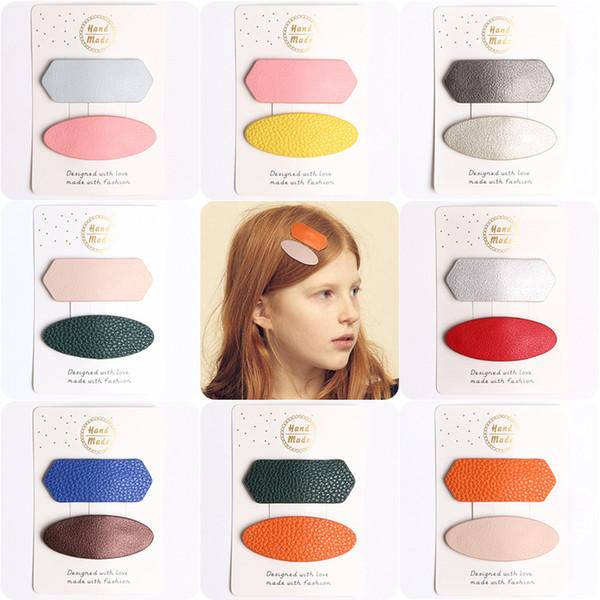 Los niños Ins clips para el cabello BB Geometric PU cuero Barrettes Bangs clip Moda accesorios para el cabello Hotsale Boutique 2019 al por mayor Rosa naranja