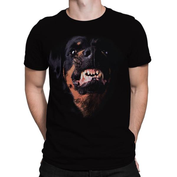 New Dog Men T-shirt Angry Rottweiler Head 2018 Men'S Lastest Fashion Short Sleeve Printed funny T-Shirt