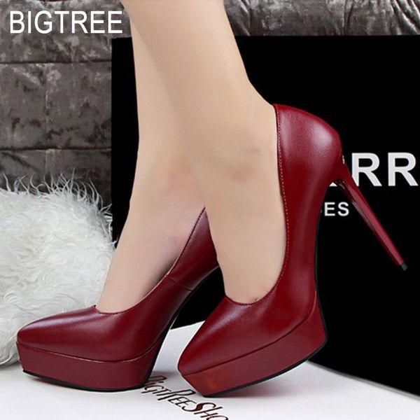 BIGTREE Femmes Escarpins Nouvelle plate-forme pour femme Chaussures à talons hauts Bout pointu Sexy Chaussures de soirée De Mode Mariage Rouge
