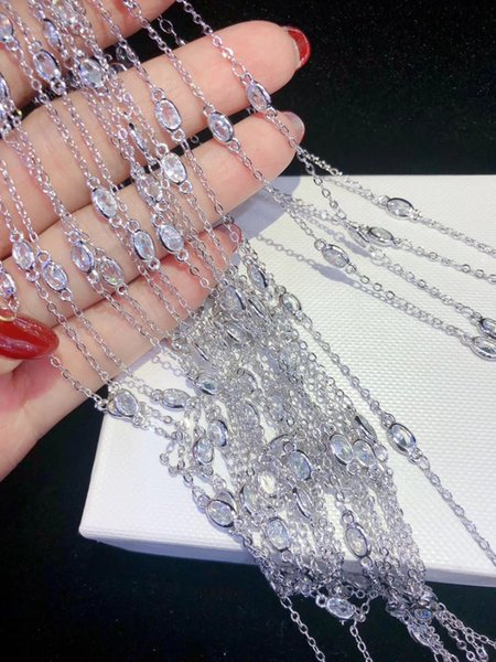 Y407 40'' Golden plated Paved CZ Cubic Zirconia Necklace Pendant Chain Jewelry Connector DIY Fine Jewellery Making