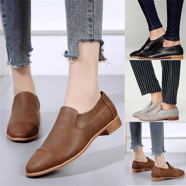 Acheter Mode Automne Hiver 2019 Vintage Femmes Bout Rond Chaussures En Cuir Bottillons Slip On Talon Carré Chaussures Simples De 1769 Du Shoe6