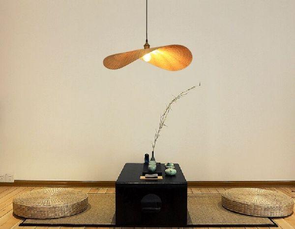 Mão de malha de bambu lâmpada pingente criativo folha luz hotel restaurante café shopping quarto china estilo suspensão iluminação pendurada myy