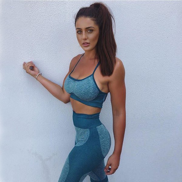 Women Fitness Clothing Workout Sport Suit Yoga Set Gym Jogging Suits Sportswear Running Leggings Quick Drying Tracksuit