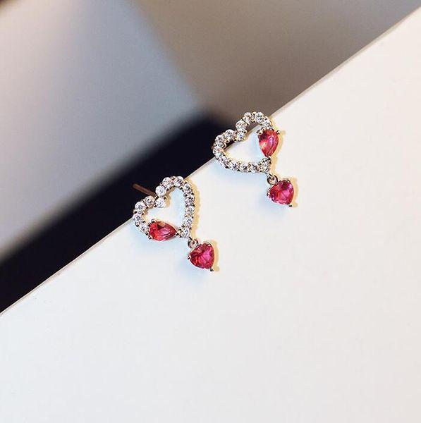 New red rhinestone love female elegant simple silver needle rose sweet sweet forest loli soft sister small pendant simple earrings