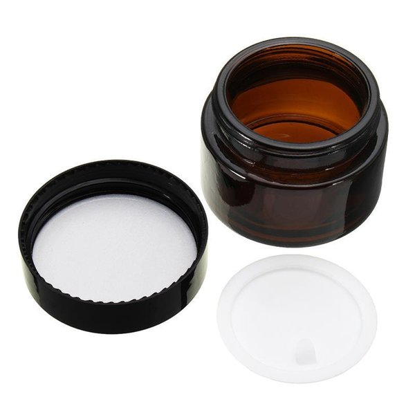 kitchen cabinet knobs Hot sale 5/10/20/30G/50G amber glass cream jar,cosmetic container,Cosmetic Jar black lid glass bottle