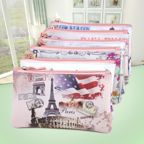 Women's PU Leather Coin Purse Printed Mini Pouch Change Wallet Cute Clutch Promotional Small Purse Gift Wallet European and American Style