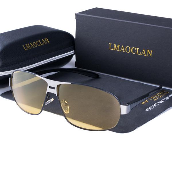 2019 Mens Polarized Night Vision Driving Sunglasses Brand Designer Yellow Lens Oversized Glasses Goggles Reduce Glare