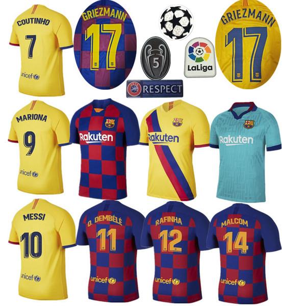 19/20 Barcelona home soccer jersey 2019 messi maillot de foot SUÁREZ football Shirt uniform sets 2020 GRIEZMANN away camiseta de fútbol kits