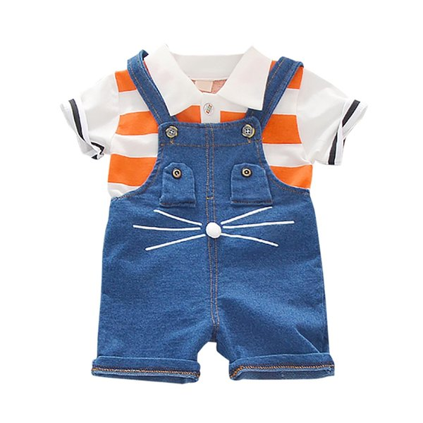 Summer Baby Boys Short Sleeve Stripe Print Tops Blouse Shirt Denim Suspender Pants Children Casual Outfits Sets Boy Shorts Set