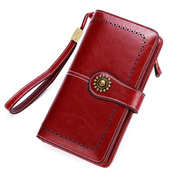 Long Leather Female Clutch Purse Cellphone Bag Coin Wallet Lady Brand Wax Oil Real Genuine Leather Women Wallet Large Money Bag Y19051702