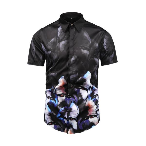 Mens Lüks moda 3D Casual gömlek güzel Tasarım Kısa Kollu gömlek s07
