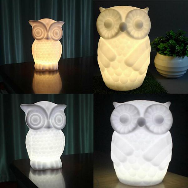 LED en forme de hibou Veilleuse Lampe de chevet Batterie Exploité Chambre Maison Decor Lampe de table pour la maison lumière décorative Dropshipping
