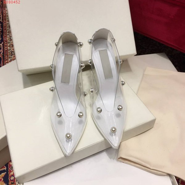 The latest fashion women's high heel exclusive stiletto leather and PVC pointy transparent high heel dress Nail bead shoes