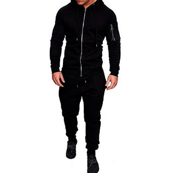 HEFLASHOR 2019 Camo Katı 2 Adet Sportwear Yeni Trendy Kas Erkekler Egzersiz Eşofman Üst Pantolon Takım Elbise Setleri Hoodie Ceket Pantolon sonbahar