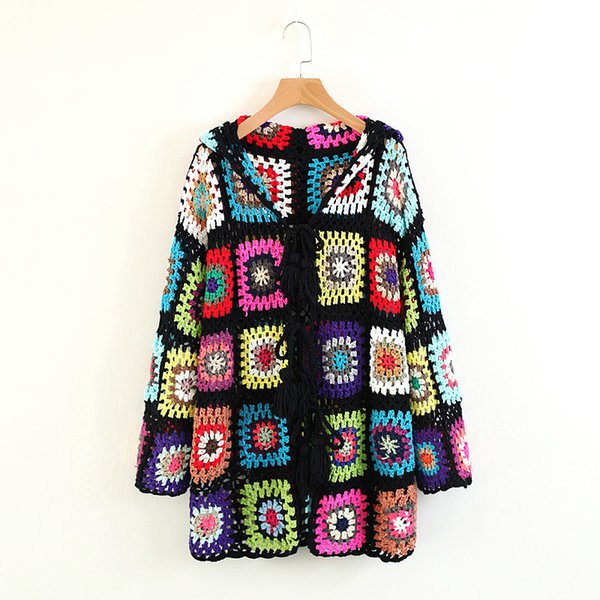 Tribal Ethnic Style Color Crocheted Knitted Hooded Jacket Sexy Hollow Chest Fringe With Long-sleeved 2018 New Casual Beach Coat