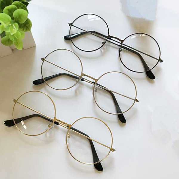 2018 Retro New Man Woman Large Round Glasses Transparent Metal Eyeglass Frame Black Silver Gold Spectacles Eyeglasses 3 Colors