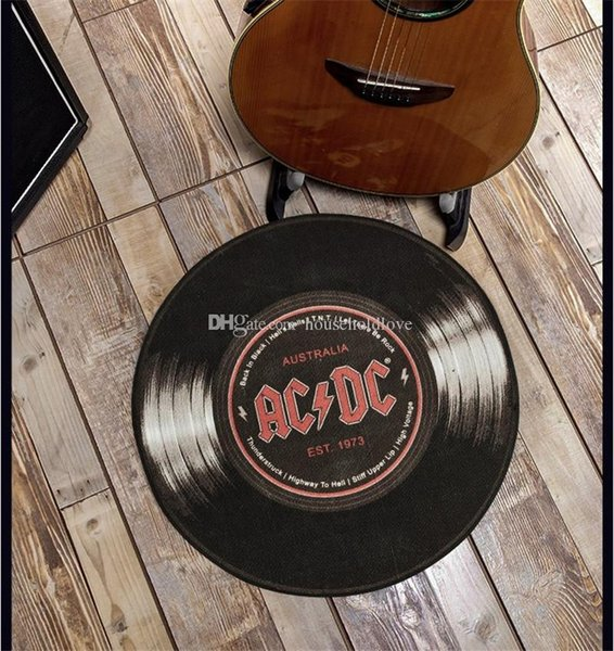 Superb Personality Creative Acdc Record Round Carpet Vintage Floor Mat Living Room Swivel Chair Mat Non Slip Sofa Computer Chair Cushion Decoration Online Short Links Chair Design For Home Short Linksinfo