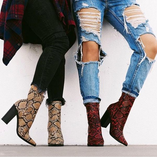 2019 Plus Size Women Boots 11cm High Heels Fetish Stripper Serpentine Ankle Boots Prom Snake Print Block Heels Chunky Red Shoes