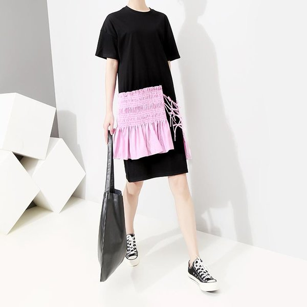 New 2019 Korean Style Women Black Midi T-shirt Dress With Patches Short Sleeve O Neck Female Unique Wear Knee Length Dress F289