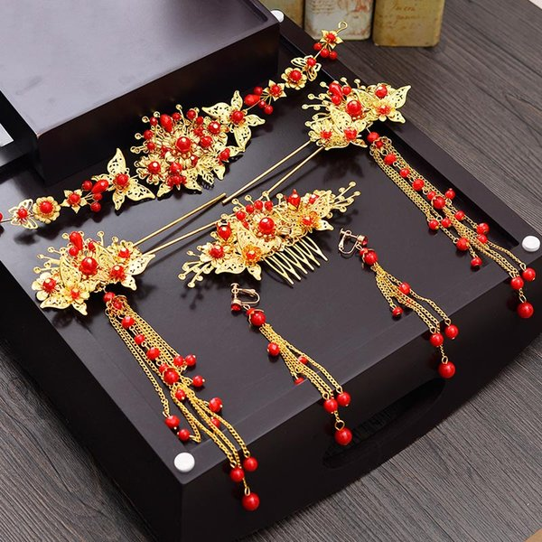 Nupcial de Ouro Chinês Acessórios Para o Cabelo de Casamento Antigo Chinês Cocar Enfeites de Cabelo Jóias Tiara Vermelha Set Headband Hairpin