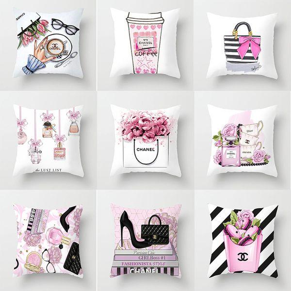 Funda de almohada nueva serie de botellas de perfume pequeñas de alta calidad funda de almohada de impresión fabricantes de fundas de asientos de automóviles para hoteles en casa al por mayor